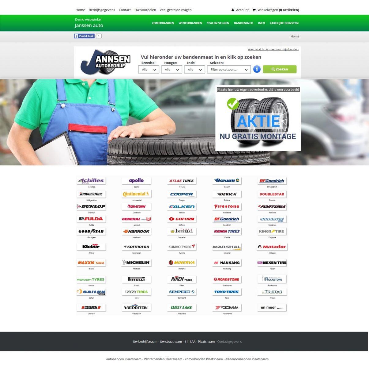 Voorbeeld groene bandenwebwinkel