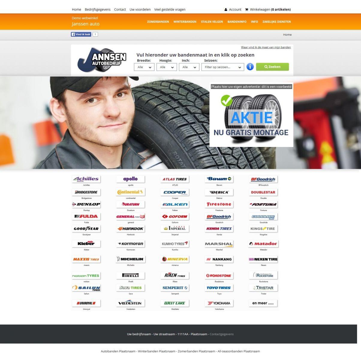 Voorbeeld oranje bandenwebwinkel